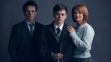 Harry (Jamie Parker), Albus (Sam Clemmett) and Ginny (Poppy Miller) in <i>Harry Potter and the Cursed Child</i> stage production.