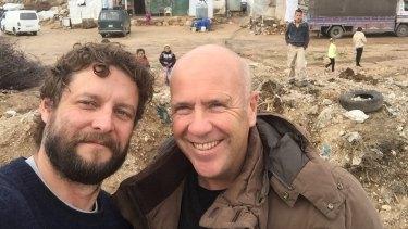 Ben Quilty and Richard Flanagan in the Bekaa Valley, Lebanon.
