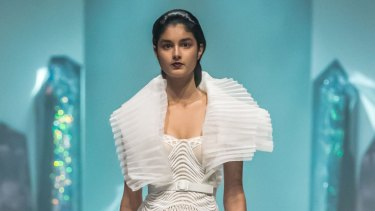A model at 2016 Melbourne Spring Fashion Week wearing a Jason Grech design using pleating by Specialty Pleaters.