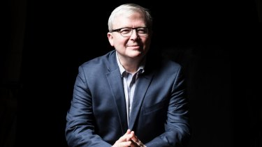 Former prime minister Kevin Rudd, pictured in 2015, challenged Benjamin Netanyahu on social media on Wednesday.