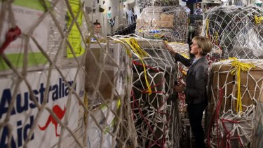 Foreign Affairs Minister Julie Bishop inspects Australian aid supplies on board an aircraft  bound for Vanuatu.