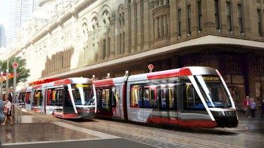 An artist's impression of the light rail line on George Street in Sydney's CBD.