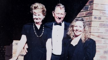Keith Tremain with his late wife and daughter Sharon Bate in front of the family's Forestville home in the mid 1980s.
