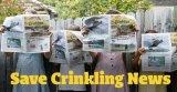 Schoolchildren hold up copies of <i>Crinkling News</i> in an image from the newspaper's Twitter page.