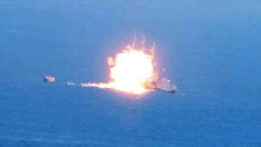 This image posted on a militant social media account affiliated with the Egyptian branch of Islamic State shows a fireball rising from an Egyptian Navy vessel.