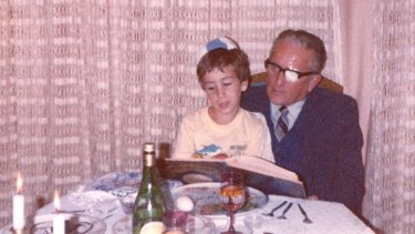Author Bram Presser as a child with his grandfather.