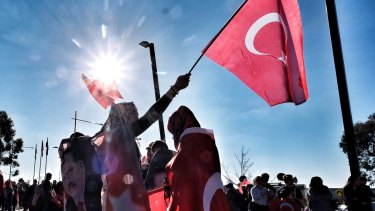 Members of Melbourne's Turkish community meet outside Broadmeadows Library in Melbourne, in support of Turkey's president after a failed coup attempt in Turkey. Melbourne, Saturday July 16, 2016. Photo: Luis Ascui