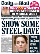 The offending Daily Mail front page criticising the Duchess of Cambridge.