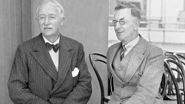 C. E. W. Bean (right) with English poet John Masefield in 1934.