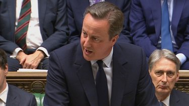 David Cameron, addresses the House of Commons in London, decrying spate of racism.