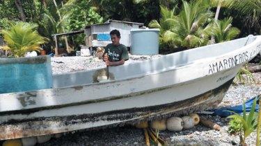The boat on Ebon Atoll.