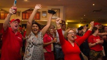 ALP party faithful celebrate winning government at Waratahs football club in Darwin.