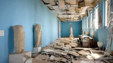 The interior of the Palmyra Museum after the ancient city was captured by Islamic State.