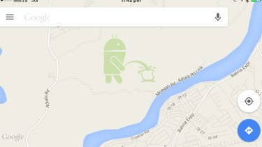 Toilet stop: The small region in Pakistan which was edited to include an image of the Android robot urinating on the Apple logo.