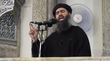 Abu Bakr al-Baghdadi pictured in a propaganda video earlier this year.