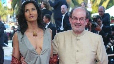 Spin a good yarn? Salman Rushdie with former wife, Padma Lakshmi.