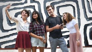 AFTRS students Olivia Gillan, Nivetha Ramkumar, Tamatea Kohu and Nicola Macindoe. They're switched on, but not in the way TV networks might prefer.