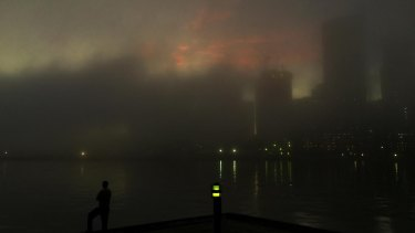 Sydney was covered by a blanket of fog on Tuesday morning.
