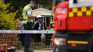 Police at the scene of a fatal fire on King Georges Road in Penshurst.