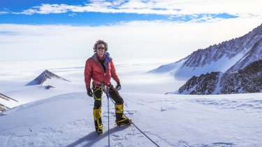 Melbourne-based adventurer Liam Suckling during his team's ascent of Antarctica's tallest mountain, Mount Vinson.