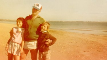 Ruth Clare with her father Doug and brother David at Emu Park Beach, Queensland in 1986.