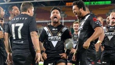 Proud New Zealander: Issac Luke leads the haka after the Kiwis beat Australia on Sunday.
