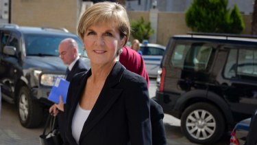 Foreign Minister Julie Bishop in the West Bank city of Ramallah, on part of her trip that took her to Berlin.