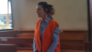 Sara Connor entering the courtroom at Denpasar District Court on Monday.