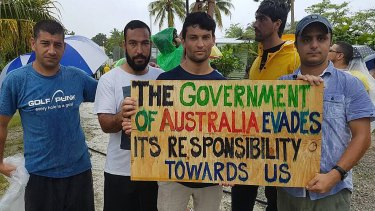 Refugees and asylum seekers during a protest at the Manus Island immigration detention centre.