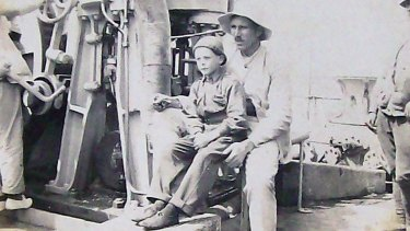 Tim Tovell (right) and Henri Hemene in a quiet moment on board the ship Kaisar-i-Hind on the voyage from England to Australia, 1919.