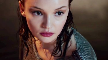 Lauren Mayberry in a still from Chvrches' video clip for Leave A Trace.