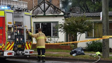 The fire broke out at the rear of the home on King Georges Road in Penshurst.