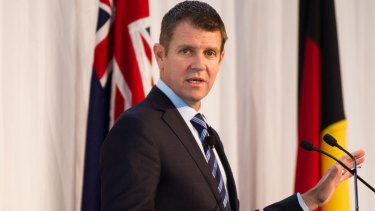 Premier Mike Baird at Luna Park for the 2016 Corporate Club Australia Business Lunch in Sydney where he addressed concerns about WestConnex.