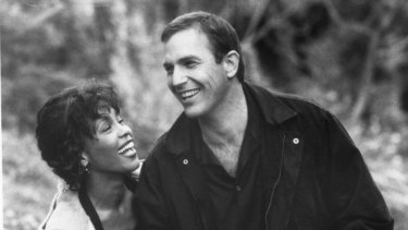 Whitney Houston and Kevin Costner in the 1992 movie <i>The Bodyguard</i>.