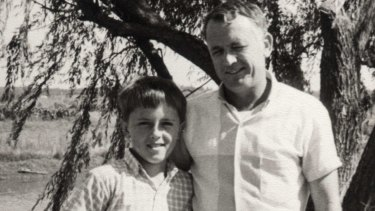 Malcolm Turnbull, aged 9, with his father Bruce, who most likely worried about how to pay his bills.