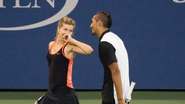 Double trouble: Nick Kyrgios and Eugenie Bouchard play mixed doubles at last year's US Open.