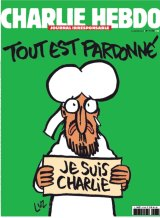 The cover of the first edition of <i>Charlie Hebdo</i> after the attack on the magazine's Paris offices that killed 12 people.