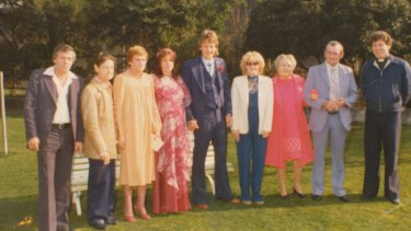 Gangster Dennis Allen (centre blue suit and tie) at his wedding to Sissy (to his right) in Pentridge in the 80's. Sissy is  Kellie Carter-Bell's sister.