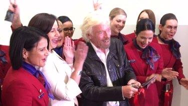 Sir Richard Branson celebrates opening the Virgin terminal with Qld Premier Annastacia Palaszczuk.