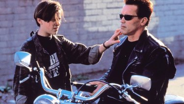 Edward Furlong and Arnold Schwarzenegger in <i>Terminator 2: Judgment Day</i>.