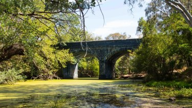 Moorabool River at Batesford. The viaduct was built in 1862.