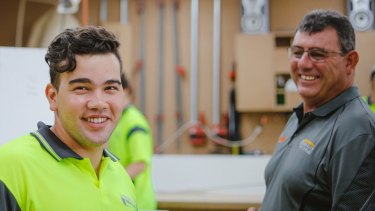 Second-year apprentice in cabinet making Jawad Haideri and David Jackson, owner of Simplicity Kitchens.