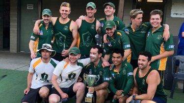 Weston Creek Molonglo celebrate winning the Cricket ACT John Gallop Cup over ANU.