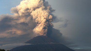 Volcanic ash spews from Mount Agung in Karangasem, Bali, Indonesia.