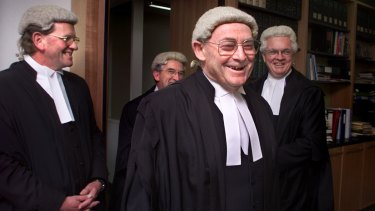 Justice Adrian Smithers and fellow judges in his chambers following his retirement ceremony in 2002.
