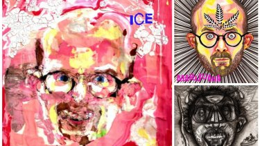 Scientists doesn't know exactly how drugs act on brain chemicals, but US artist Bryan Saunders provides a clue with his self-portraits made under the influence of ice, marijuana and cocaine (bottom right).