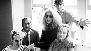 The Go-Betweens c1988: John Willsteed, Grant McLennan, Lindy Morrison, Robert Forster, Amanda Brown.