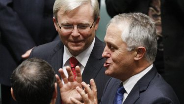 Malcolm Turnbull with then prime minister Kevin Rudd in March 2010.