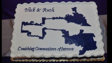 Ruth Greenwood's electoral map wedding cake.