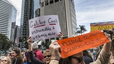 A protest against Adani's Carmichael mine was held in Brisbane last week.